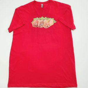 Next Level TACOS Red T-Shirt Size Large